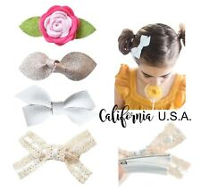 California Tot 4 Premium Faux Leather Bow Hair Clips for Toddler, Girls(Boho)