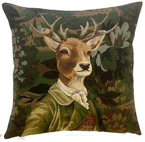 """VERDURE STAG IN GREEN JACKET 18"""" BELGIAN TAPESTRY CUSHION COVER WITH ZIP, 5975"""