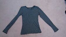 Old Navy gray stripped M long sleeve shirt top blouse RN54023 Style 528586