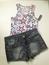 FADED GLORY Girls Graphic TANK & JUSTICE Denim Sequin SHORTS Size 8 July 4TH NEW