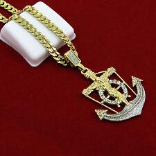 """Mens HipHop Anchor Jesus Cross Pendant 24"""" Cuban Chain Pendant Necklace Set D636"""