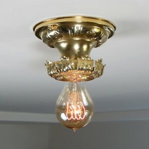 Antique Flush Mount Solid Brass Ceiling Light Fixture