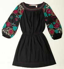NWOT Chelsea & Violet Blue Boho Dress With Embroidered 3/4 Sleeves Size XS
