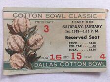 1949 NCAA COLLEGE FOOTBALL COTTON BOWL TICKET STUB OREGON DUCKS SMU MUSTANGS OLD