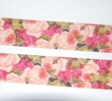 Japanese WASHI Tape ~ 10m x 15mm ~ Pale & Dark PINK ROSES ~ embellishment