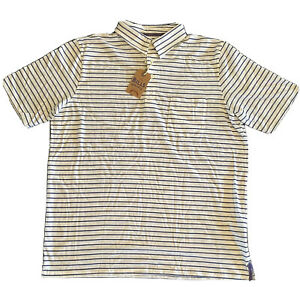 NWT Bills Khakis Palmer Polo Shirt Sz L Short Sleeve Striped White Blue USA $89