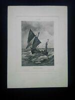 Rare gravure XIXème Bateau vent arrière A. Morton Hautecœr rue de Rivoli Paris