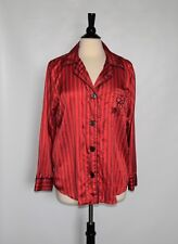 NWOT CHAPS Womens Red Striped Long Sleeve Buttons Down Top Gowns Size L