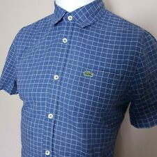 Lacoste Mens Short Sleeved Oxford Shirt Size SMALL Blue Checked Slim Fit  #E13