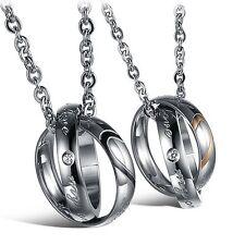 2 Edelstahl HERZ Anhänger Halskette Partner Kette Freundschaft Paar Silber Liebe