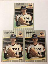 Nolan Ryan Astros 3 card lot. 1989 Fleer #368