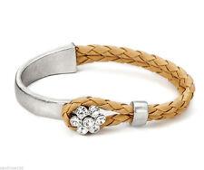 Markenlose Modeschmuck-Armbänder aus Leder mit Kristall für Damen
