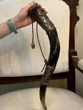Jewish Shofar Horn Wine Flask Engravings including Star of David 18""