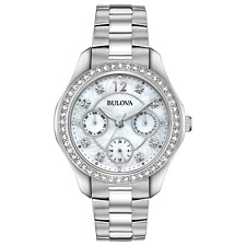 Bulova Women's Quartz Diamond Accents Multi Dial Silver Tone 36mm Watch 96N111