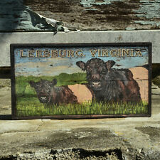 """Leesburg Virginia"" Cow Sign - Antique Look Reproduction of Original Art -Med."