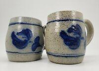 Rowe Pottery Works Set of 2 Blue Flower Coffee Mugs Salt Glaze