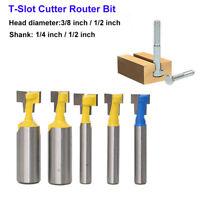 Holz T-Slot Cutter Router Bit Schaftfräser für 3/8&1/2''Hex Bolt 1/4&1/2''Schaft