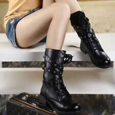 Women Black Winter Boots Military Lace-up Martin Short Block Heel Ankle Shoes