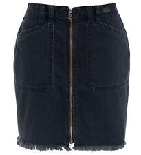 Womens Frayed Denim Skirt Ladies Zip skirts NEW Size 6 8 10 12 14 Black