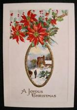 A Joyous Christmas Vintage Greeting Card Bavaria Red Flowers Man With Horse (O)