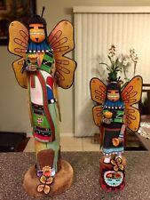 Hopi Butterfly Kachinas. Hopi carving/sculpture. 15 inches tall & 12 inches tal.