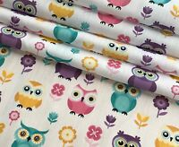LOVELY OWL PRINT POLYCOTTON FABRIC 112cm WIDE PER METRE