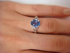 14K WHITE GOLD SOLITAIRE RING WITH 1.55 CT TANZANITE DEEP BLUISH-VIOLET COLOR