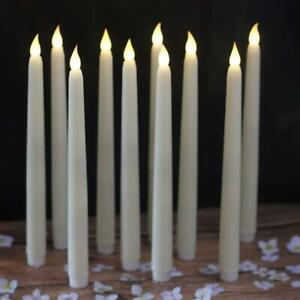 """12pcs Flameless Battery Operated LED Tapered Candle 0.5"""" x 11"""" Ivory White Tall"""