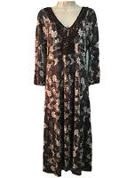 CHEROKEE Bohemian Midi Dress Tunic Boho Floral Crochet Neck Hippie Chic UK 10 S