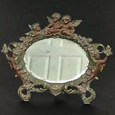Victorian Dresser Top Vanity  Mirror Cherubs and Angels Cast Iron Easel Back