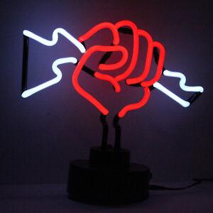 Massage Neon Sign Lightening Fist Real Glass Light Sculpture Boxer Electric Gift