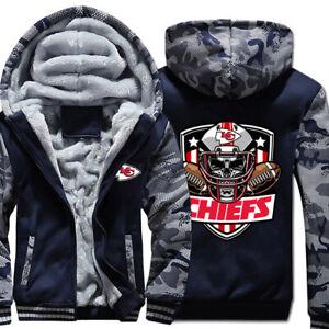 KANSAS CITY CHIEFS KC Fleece Jacket Hoodie Hooded S-5XL Football Team Logo NEW