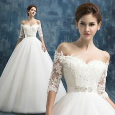 White/Ivory Ball Gown Bridal Gown Wedding Dress Custom Size 4 6 8 10 12 14 16 18