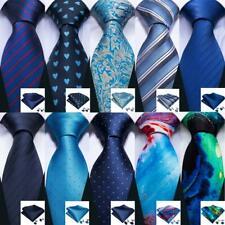 Men's Navy Blue Tie Hanky Necktie with Cufflinks and Pocket Square Tie Set