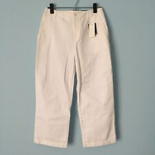NWT Lands End White Cropped Twill Chino Capri Pants 4 NEW