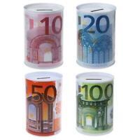 Euro Dollar Metal Cylinder Piggy Bank Saving Money Box Creative Home Decoration