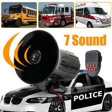 100W 7Sound Loud Car Warning Alarm Police Fire Siren Horn PA Speaker System150dB