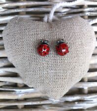 Enamel 3d Ladybird Earrings Solid Steling Silver or Plated Stud/Clip-on Boxed