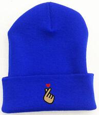 Korean KPOP Love Finger Heart embroidered Beanie Cap Hat Royal Blue