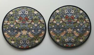 Magnetic Aga covers. Set 2 with loops or magnet Morris Strawberry thief in navy.