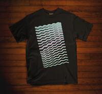 Vaporwave Waves Digital Cyber Synthwave Black Cotton Men's T-shirt Top Tee