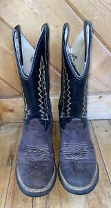 Boys Youth Rodeo Western Old West Brown & Black Round Toe Cowboy Boots Size 5
