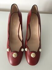 Gucci Willow Red Pearl embellished  Pumps 38 Bloggers Sylvie Princetown RP£625