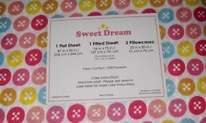 SWEET DREAM COLORFUL BUTTONS CIRCLES FULL SZ SHEET SET ANY AGE PINK BECO GIRL