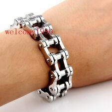 Biker Motorcycle chain design Stainless Steel Men Fashion Bracelet 18mm 8.66''