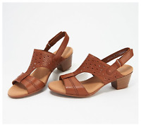Clarks Collection Valarie Mindy Leather Heeled Sandals, Tan, US 9 M, NWD