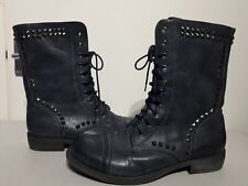 Blue Faux Leather Combat Biker Style Boots Size 7 Lace Up Pull On Studs Flamjam