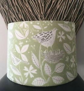 NEW HANDMADE LAMPSHADE SAM WILSON STUDIO HEDGEROW FABRIC BIRDS PALE GREEN