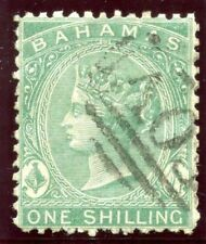 Bahamas 1865 QV 1s green very fine used. SG 38. Sc 15.