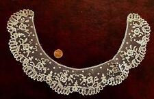 Victorian Small Brussels bobbin lace applique collar  COSTUME